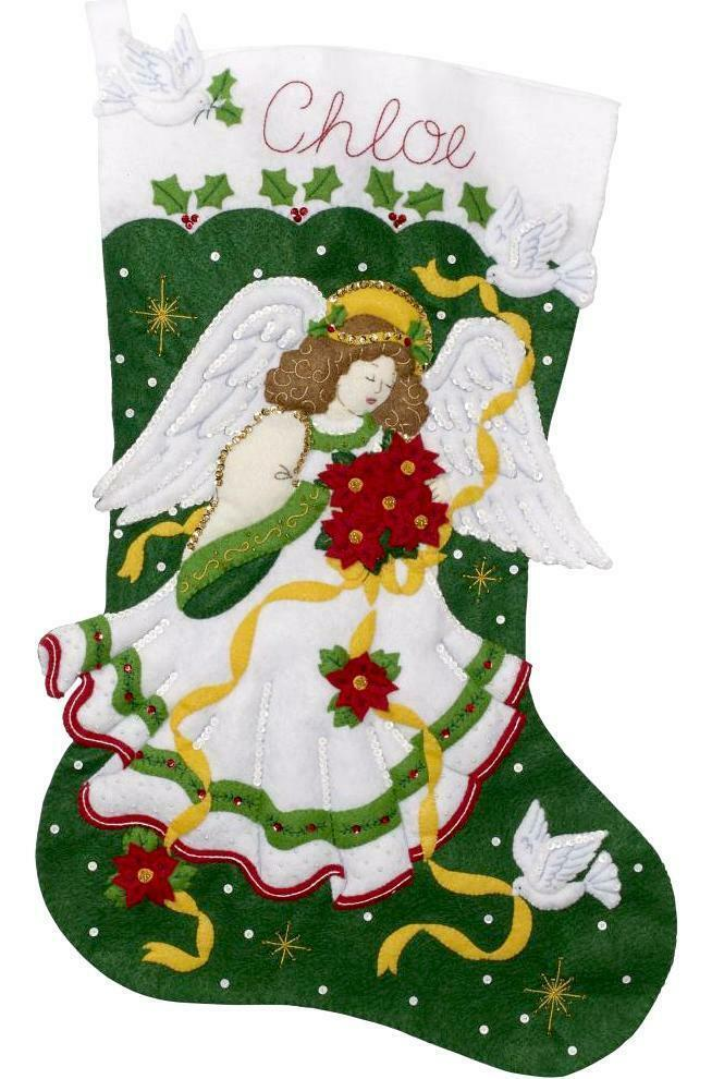 "Primary image for Bucilla Jumbo 28"" Poinsettia Angel Christmas Doves Felt Stocking Kit 86972E"