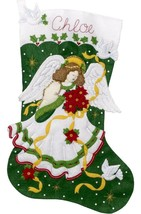 "Bucilla Jumbo 28"" Poinsettia Angel Christmas Doves Felt Stocking Kit 86972E - $52.95"