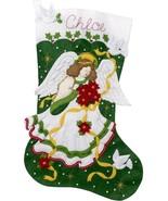"Bucilla Jumbo 28"" Poinsettia Angel Christmas Doves Felt Stocking Kit 86972E - $52.95"
