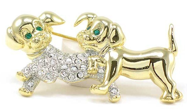 Adorable Crystal Pave Puppy Dog 14K Gold EP Brooch BP69