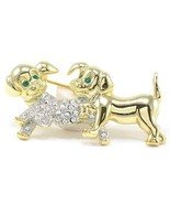 Adorable Crystal Pave Puppy Dog 14K Gold EP Brooch BP69 - $10.99
