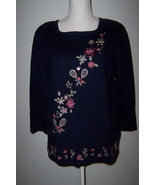Alfred Dunner Navy Blue Sweater Embroidered Pullover Size Medium - $14.99