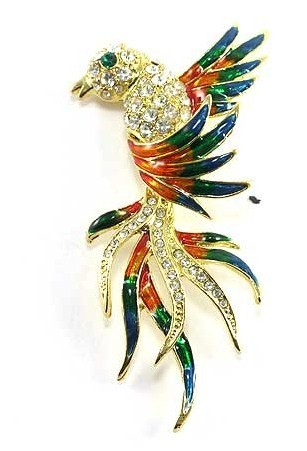 Stunning Crystal Bird of Paradise 14K Gold EP Brooch BP72