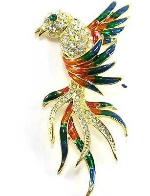 Bp72 exotic bird brooch 3.5 in