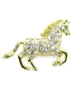 Stunning Crystal Pave Horse Gold EP Brooch Pin Broach BP76 - $9.99