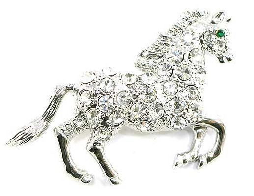 Bp77 horse silver brooch 2.25 in