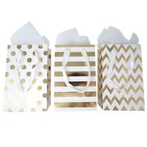 12 Gold Foil Paper Gift Bags White Tissue Paper Satin Ribbon Handles 8.5... - $16.91
