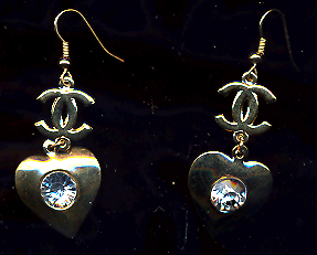 FREE WITH PURCHASE~Gold Rhinestone Pierced Heart Drop Earrings