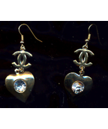 FREE WITH PURCHASE~Gold Rhinestone Pierced Heart Drop Earrings - $0.00