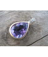 Natural African Amethyst Pendant Solid 10K Gold Diamond Pearl Necklace E... - $340.00