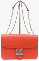 GUCCI Leather Shoulder Bag Crossbody Orange Interlocking GG Gold HW Chai... - $1,852.50