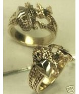 Heraldic Lion 10 Karat Gold Mens shield ring med. - $849.00