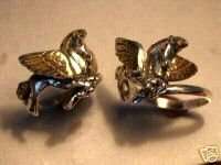Pegasus Gold Winged horse Sterling Silver Ruby ring