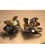 Pegasus Gold Winged horse Sterling Silver Ruby ring - $29.00