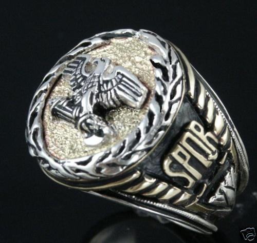 Roman Eagle SPQR mens signet ring Sterling Silver Lge