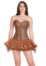 Sexy Brown Leather Zip Goth Burlesque Steampunk tutu Skirt Overbust Corset Dress - $69.57