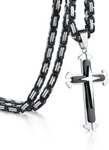 Cross Necklace, Heraculs 5mm Stainless Steel Byzantine Chain For Men Wom... - £24.62 GBP
