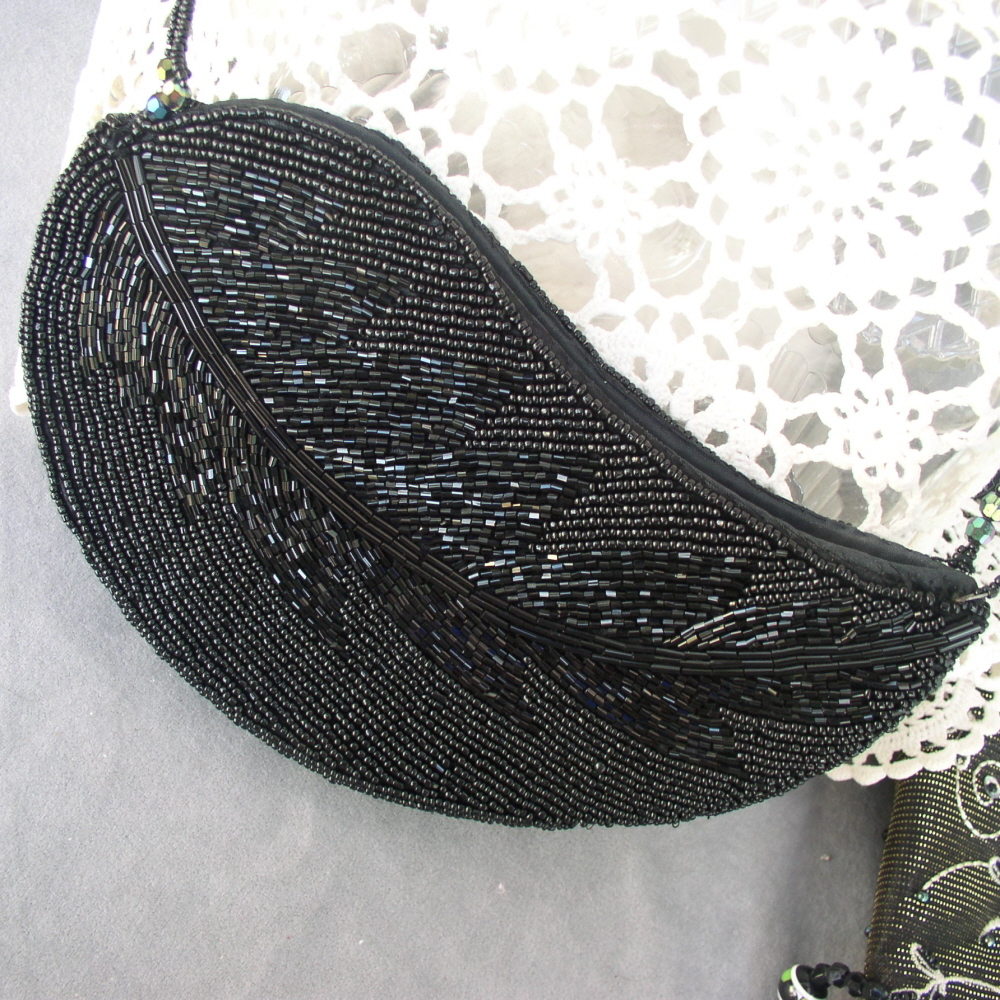 Handbag Black Beaded Evening Purse