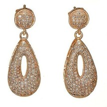Pave Cubic Zirconia Rose Sterling Silver TearDrop Dangle Earrings-CZ - $78.21