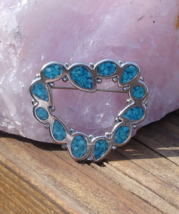 Vintage Trifari Inlaid Turquoise Heart Brooch - $36.00