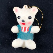 Vintage Kitsch CUTE White Teddy Bear Christmas Ornament - $7.70