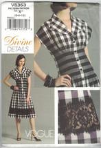 Vogue 8353 Size 6 8 10 Divine Details Dress Pattern Fitted Tucked Waist ... - $11.75