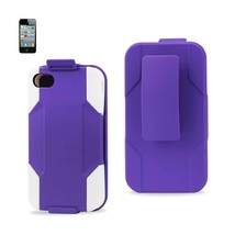 REIKO IPHONE 4/ 4G HYBRID HEAVY DUTY HOLSTER COMBO CASE IN WHITE PURPLE - $9.99