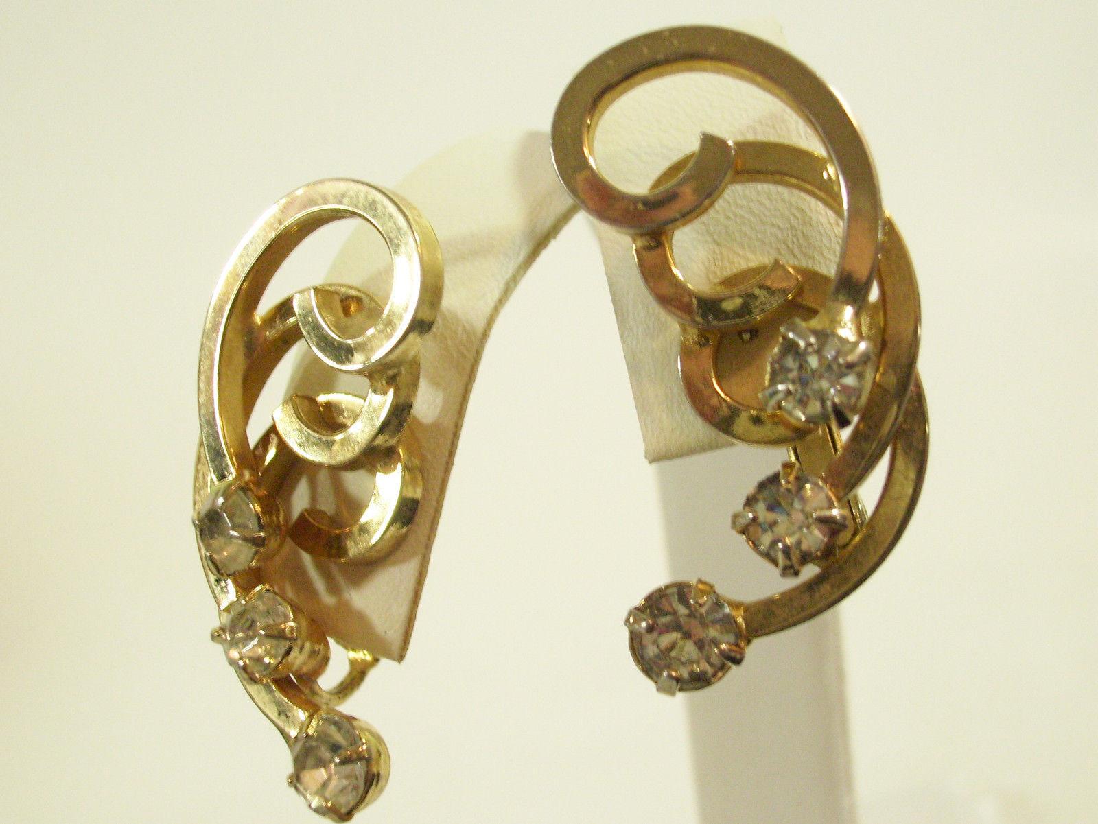 SARAH COVENTRY Gold Plate SPIRAL RHINESTONE HUGGIE Clip Earrings COV Vintage