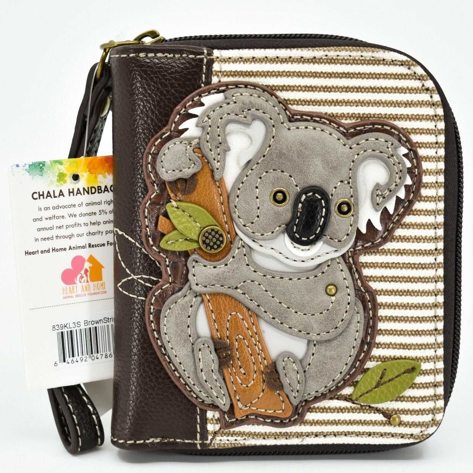 Chala Handbags Faux Leather Whimsical Koala Brown Zip Around Wristlet Wallet