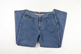Vtg 90s Tommy Hilfiger Mens 36x32 Straight Leg Boot Cut Denim Jeans Pants Blue - $43.51