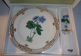 Floral Cake Plate and Server Andrea by Sadek Golden Botanical New in Box - $25.57