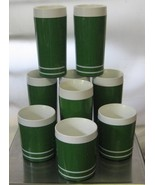 9 Vintage Olive Green Morgan Insulated Thermal Glasses & Tumblers Signed... - $50.00