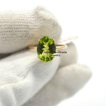 Peridot Ring, 14k Rose Gold Ring, Peridot Gemstone Ring, Solid Gold Ring... - $347.37