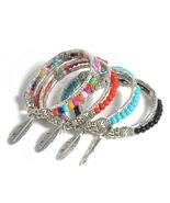 Boho Tibetan Silver Feather Charm Bracelet - $15.00