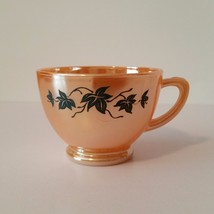 ANCHOR HOCKING FIRE KING PEACH LUSTRE/LUSTER FLORAL LEAF PUNCH CUP - W1-8A - $5.45