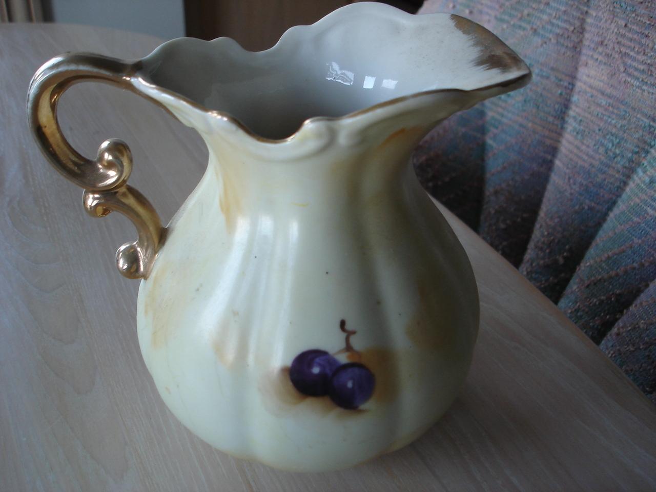 Vintage Japan Porcelain Pitcher, Fruit Design. Gold Trim
