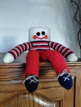 Vintage Crochet Folgers Coffee Can Cover Bank Shelf Doll - $40.00