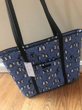 VERA BRADLEY Small Trimmed Tote Bag Purse Playful Penguins Blue Handbag NWT - $59.35