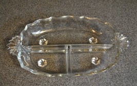 3 Section Handled Relish Dish in Baroque-Clear by Fostoria - $33.65