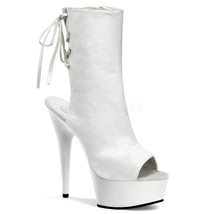 "PLEASER Sexy Stripper 6"" Heel Platform Open Toe White Ankle Boots DEL1018/W/PU - $74.95"