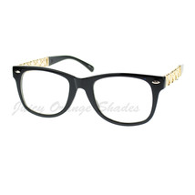 Womens Clear Lens Fashion Glasses Square Frame Chain Hearts - £7.69 GBP