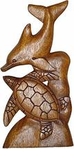 Beautiful Hand Carved Mahogany Wood Double Turtle Dolphin Ocean Coral Wall Art - $24.69