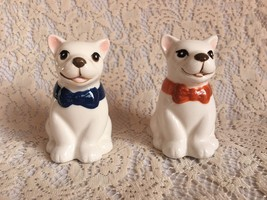 French Bulldogs White Salt Pepper Shakers Ceramic Bow Dog Lovers Pets Ho... - $14.99
