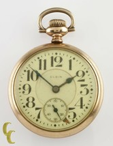 "Elgin Gold Filled ""Father Time"" Open Face Pocket Watch Gr 454 21 J 16S 1920 - $363.84"