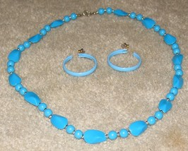 Vintage '80's Costume Jewelry Bead Necklace & Hoop Earrings - $7.95