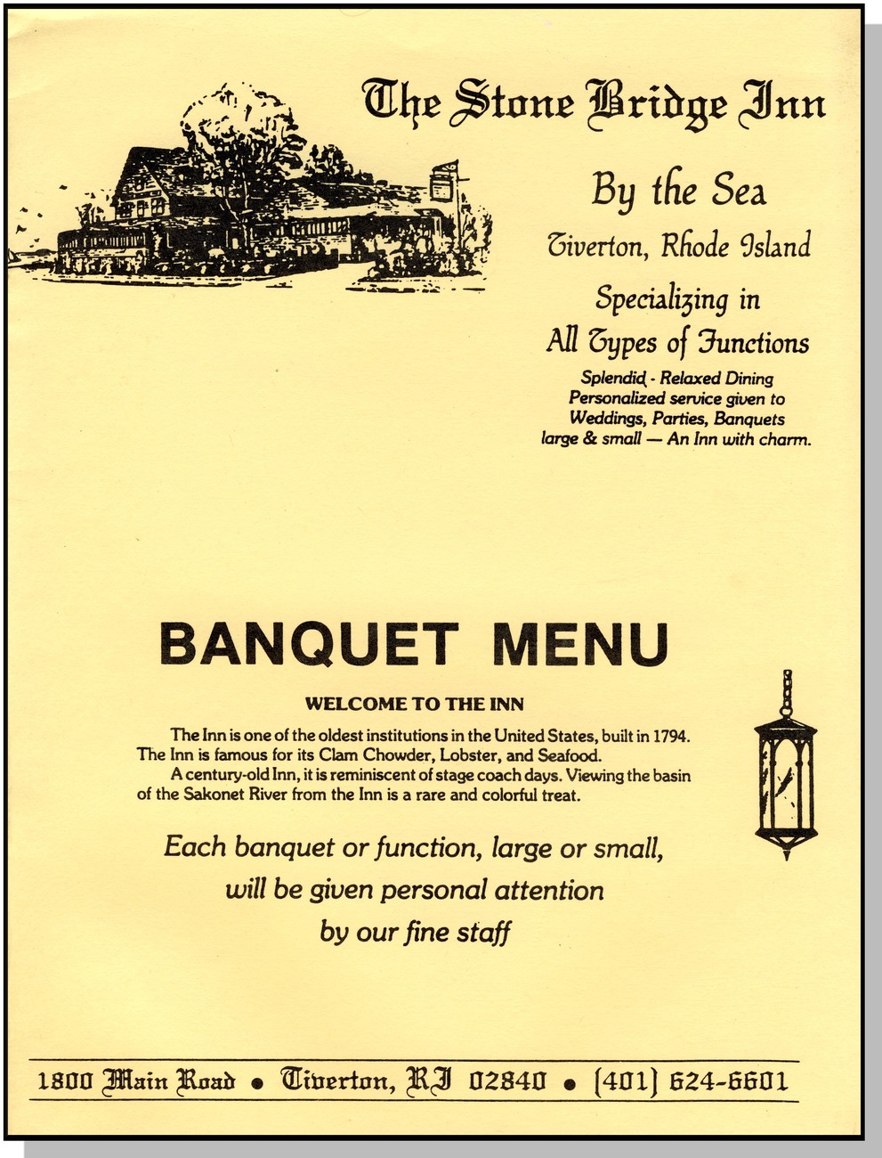 Stone Bridge Inn Banquet Menu, Tiverton, Rhode Island/RI
