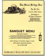 Stone Bridge Inn Banquet Menu, Tiverton, Rhode Island/RI - $29.95