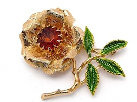 Sarah Coventry EMBER FLOWER Brooch Topaz Rhinestone & Green Enamel Leaves - $11.95