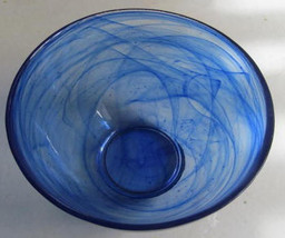 Bormioli Rocco Murano Cobalt Blue Swirl Design Bowl/ Entertaining Glass ... - $19.99
