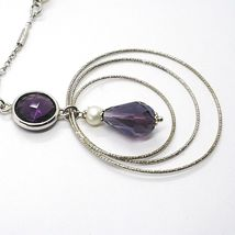 SILVER 925 NECKLACE, AMETHYST PURPLE, TRIPLE CIRCLE PENDANT, MILLED image 3